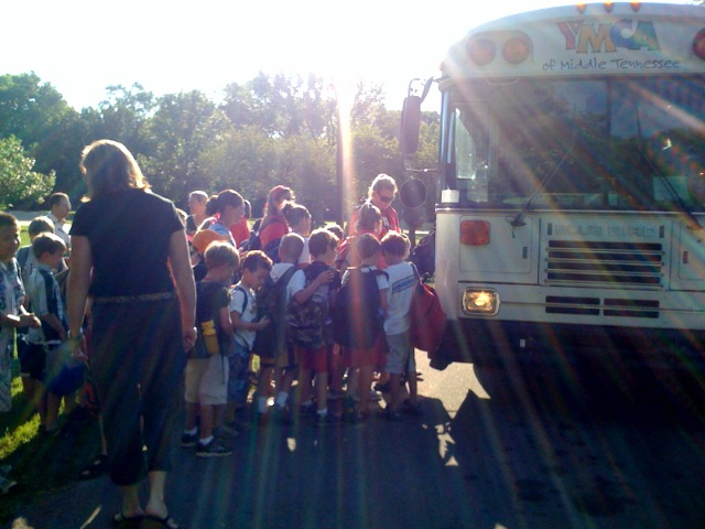 Morning bus to camp